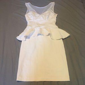 White Bebe Mesh Peplum Bodycon Dress